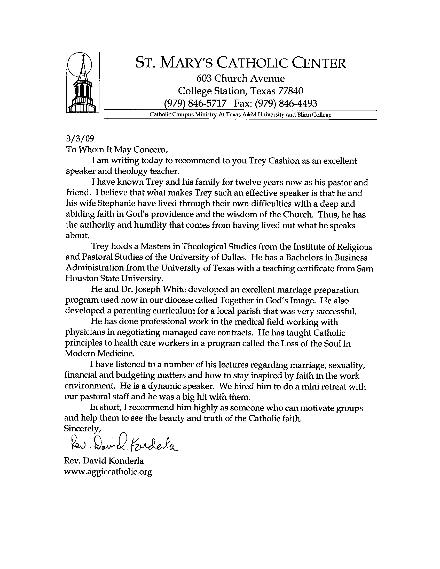 Recommendation Letter From Fr. David Konderla, Pastor At St. Maryu0027s  Catholic Center In College Station, TX